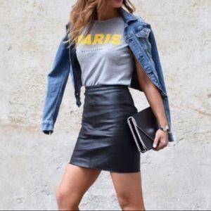 Liz Claiborne Extra Petite Black Leather Skirt